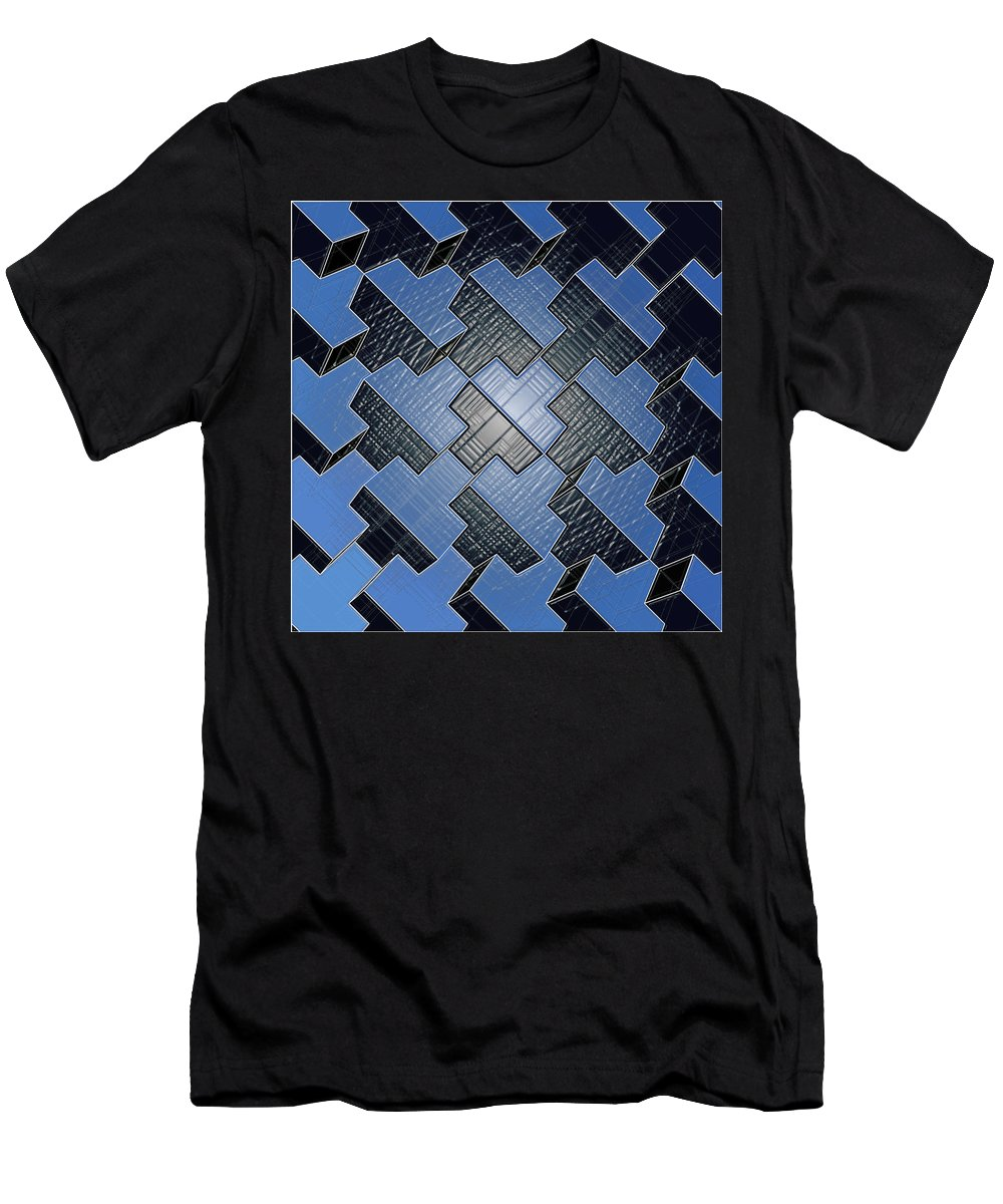 Abstract Men's T-Shirt (Athletic Fit) featuring the digital art Urban Blue City Boxes Cube Leather by Nenad Cerovic