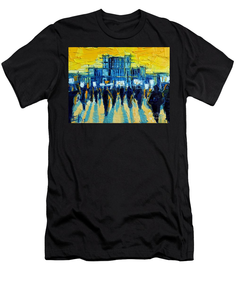 Urban Story The Romanian Revolution Men's T-Shirt (Athletic Fit) featuring the painting Urban Story - The Romanian Revolution by Mona Edulesco