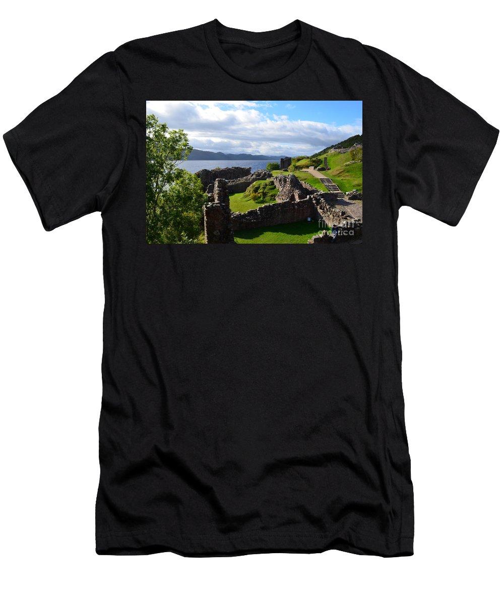 Urquhart Castle Men's T-Shirt (Athletic Fit) featuring the photograph Urquhart Castle Ruins by DejaVu Designs