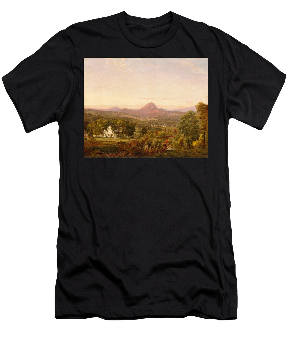 Jasper Francis Cropsey Men's T-Shirt (Athletic Fit) featuring the painting Autumn Landscape Sugar Loaf Mountain. Orange County New York by Jasper Francis Cropsey
