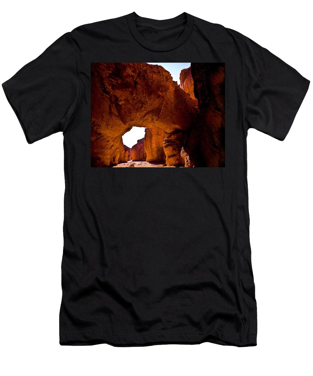Evie Men's T-Shirt (Athletic Fit) featuring the photograph Valley Of Fire Arch by Evie Carrier