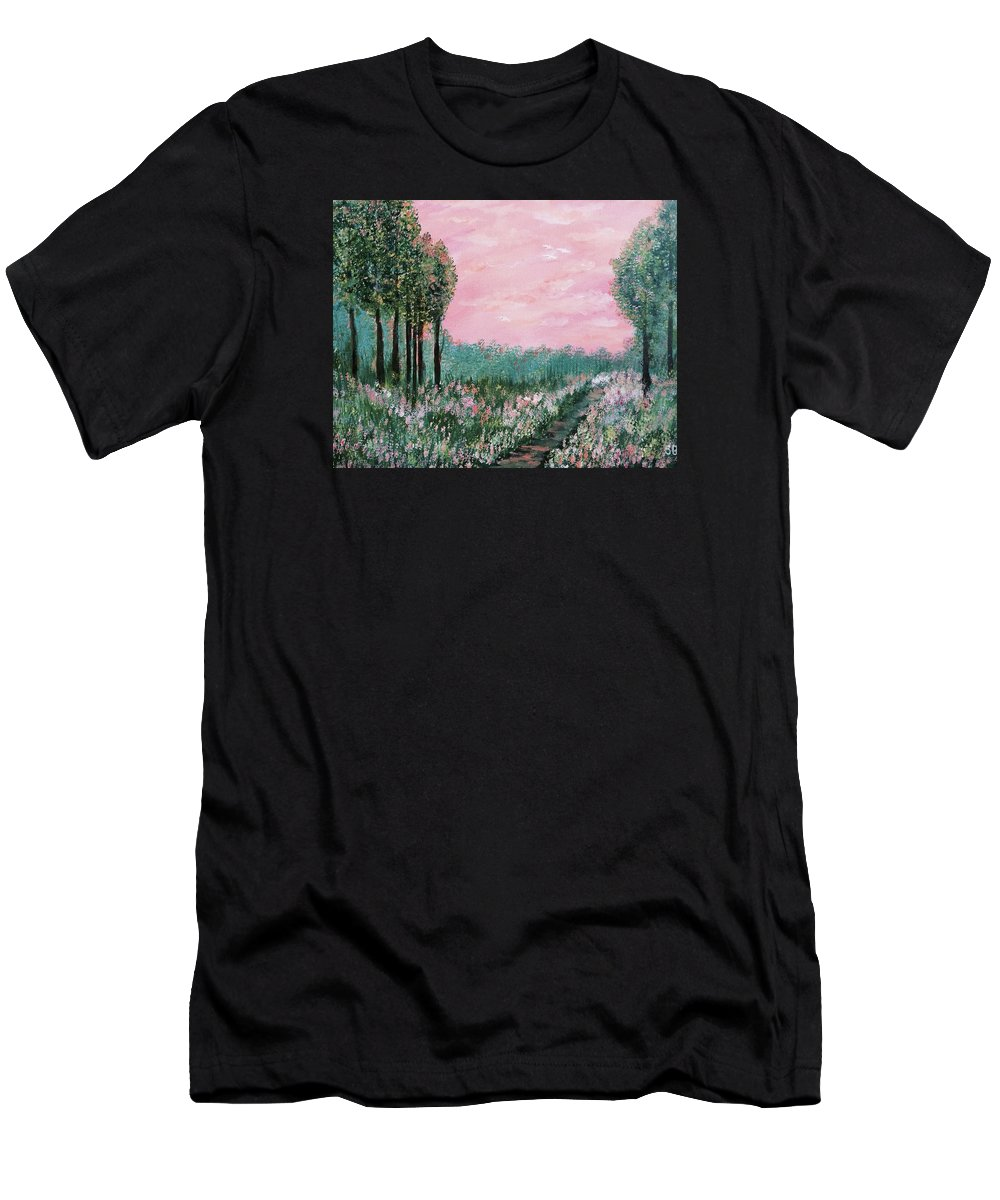 For Traditional House Men's T-Shirt (Athletic Fit) featuring the painting Valley Of Flowers by Suniti Bhand