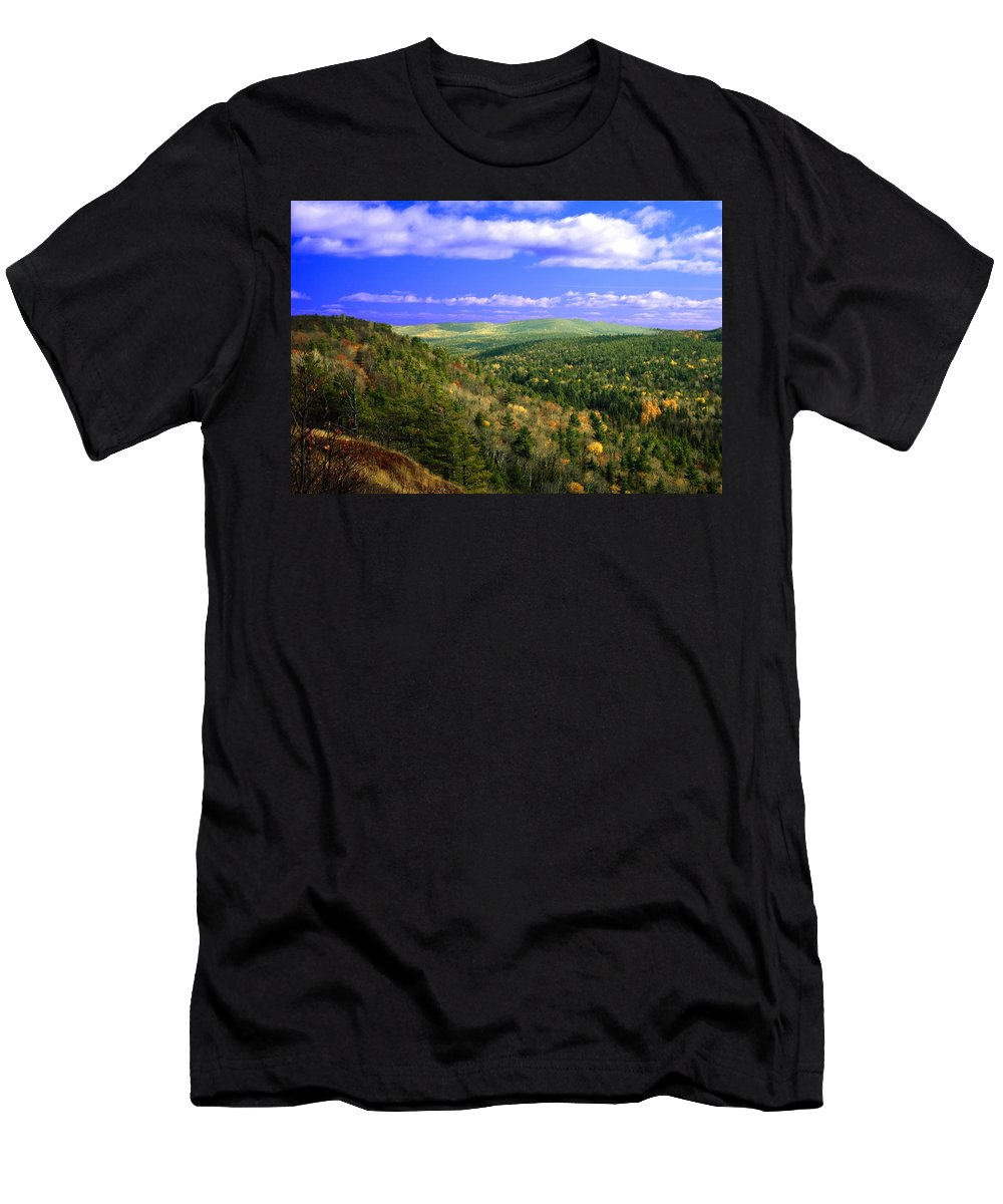 Optical Playground By Mp Ray Men's T-Shirt (Athletic Fit) featuring the photograph Valley Of Trees by Optical Playground By MP Ray