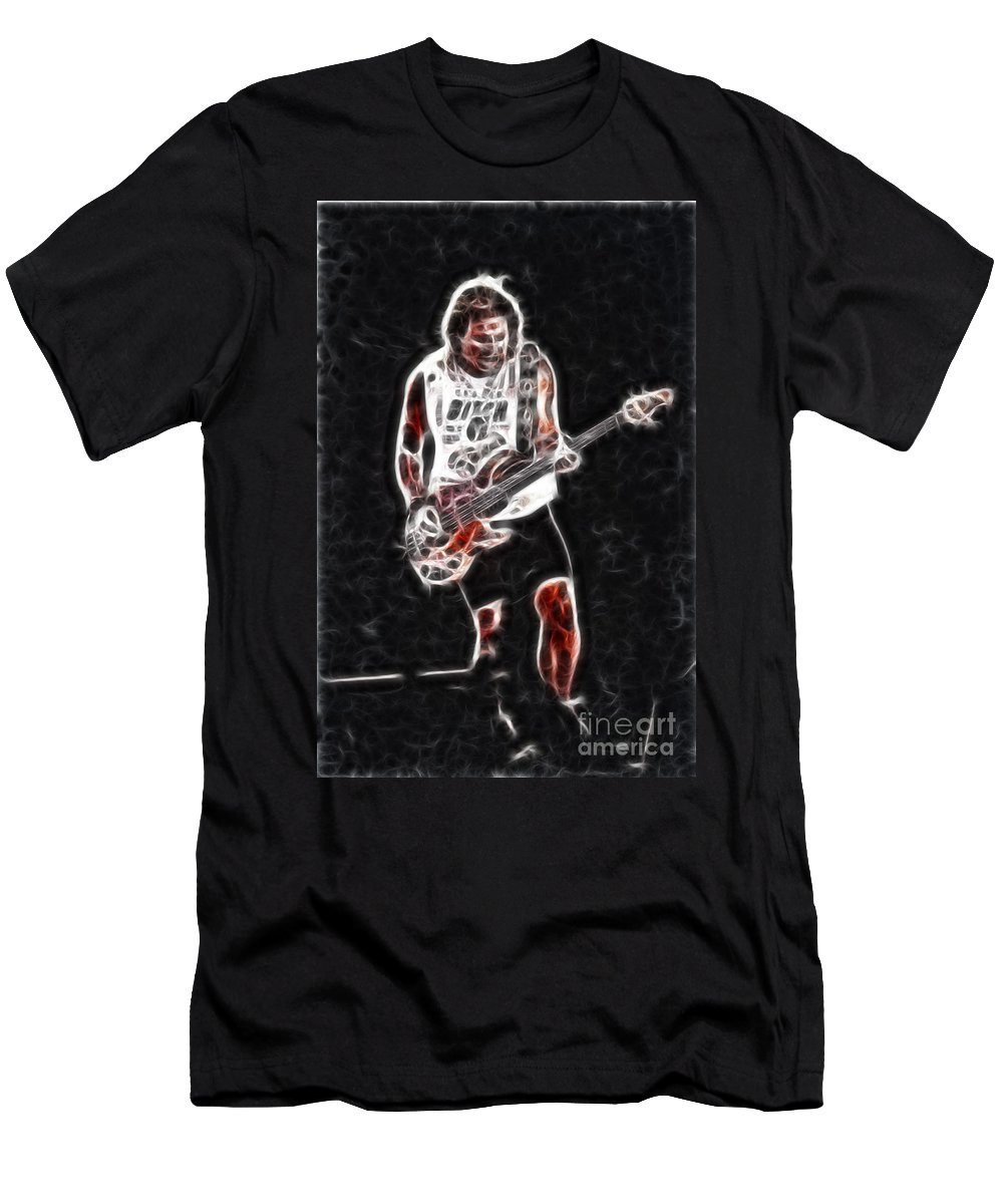Music Men's T-Shirt (Athletic Fit) featuring the photograph Van Halen-93-mike-gc23-fractal by Gary Gingrich Galleries