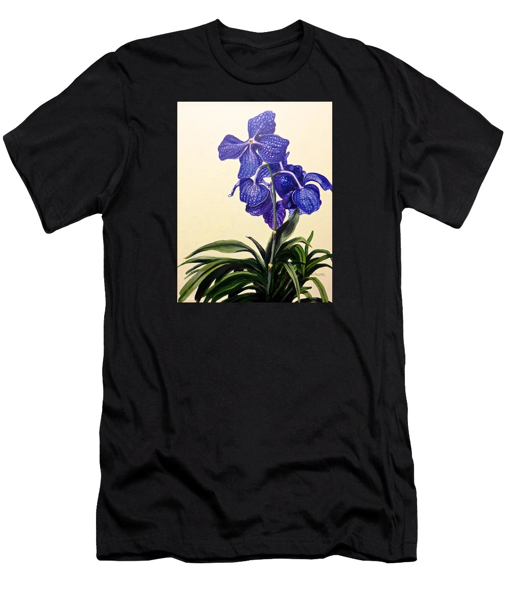 Vanda Sausai Blue Orchid Men's T-Shirt (Athletic Fit) featuring the painting Vanda Sausai Blue Orchid by Mary Palmer