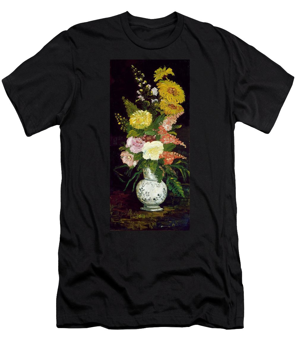 Van Gogh Men's T-Shirt (Athletic Fit) featuring the painting Vase Of Flowers, 1886 by Vincent van Gogh