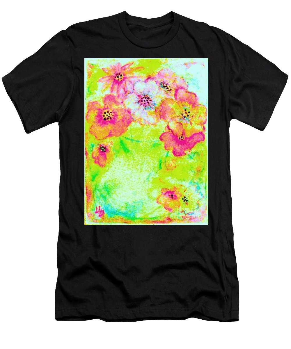 Impressionistic Rainbow Flowers Men's T-Shirt (Athletic Fit) featuring the painting Vase Of Spring Flowers by Hazel Holland
