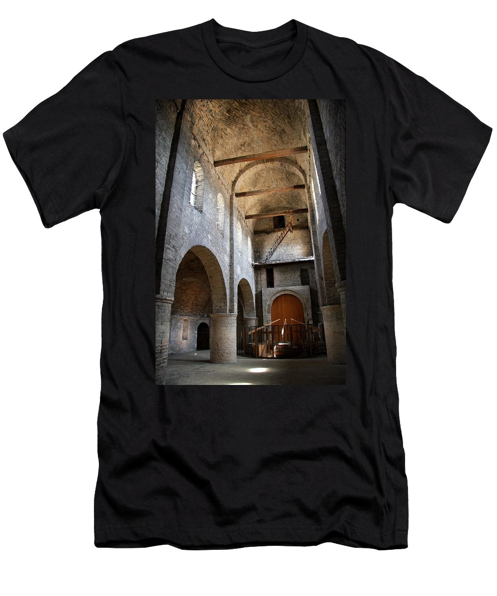 Vault Men's T-Shirt (Athletic Fit) featuring the photograph Vaulted Roof St Philibert - Tournus by Christiane Schulze Art And Photography
