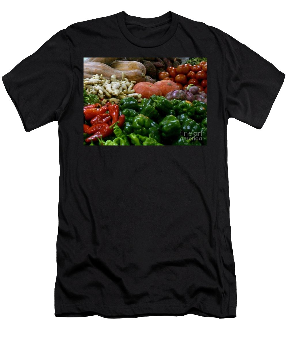 Vegetables Men's T-Shirt (Athletic Fit) featuring the photograph Vegetables In Chinese Market by Barbie Corbett-Newmin