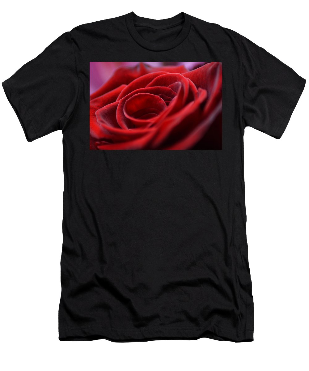 Rose Men's T-Shirt (Athletic Fit) featuring the photograph Velvet In Red by Anita Braconnier