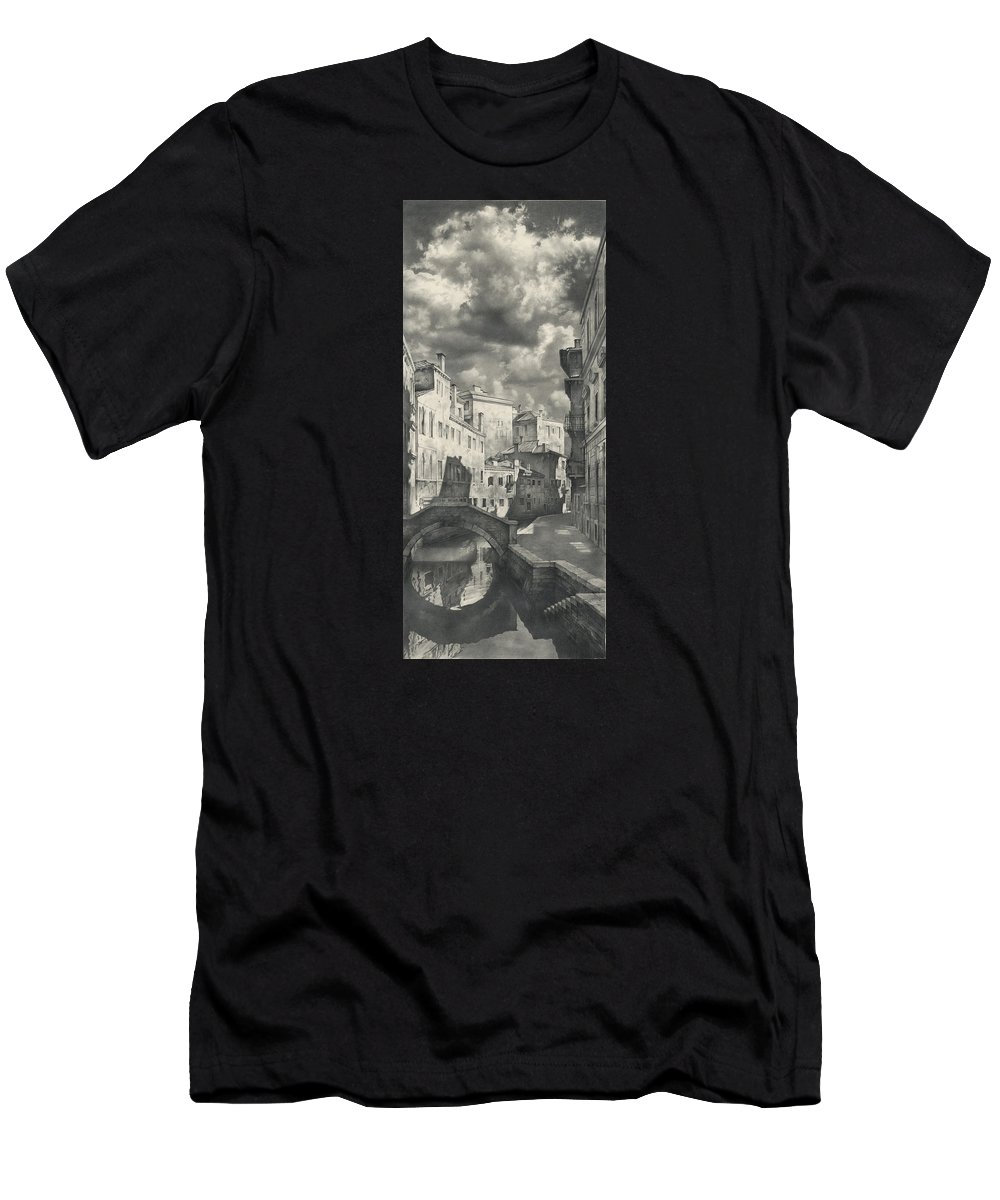 Italy Men's T-Shirt (Athletic Fit) featuring the drawing Venice. A View From The Other Bridge by Denis Chernov