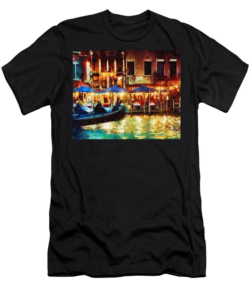Venice Glow Men's T-Shirt (Athletic Fit) featuring the painting Venice Glow by Mo T