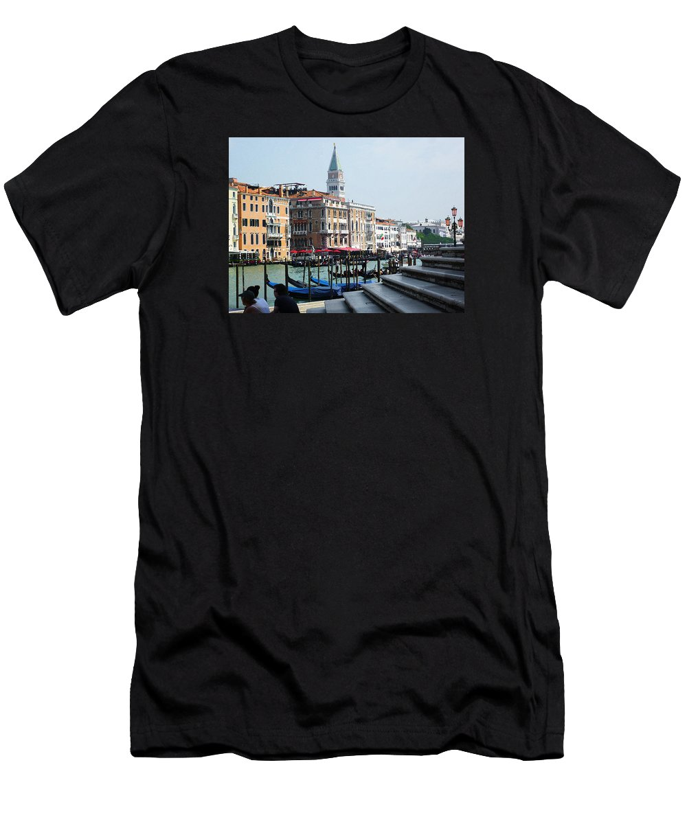 Italy Men's T-Shirt (Athletic Fit) featuring the photograph Venice Gondolas On Canal Grande by Irina Sztukowski