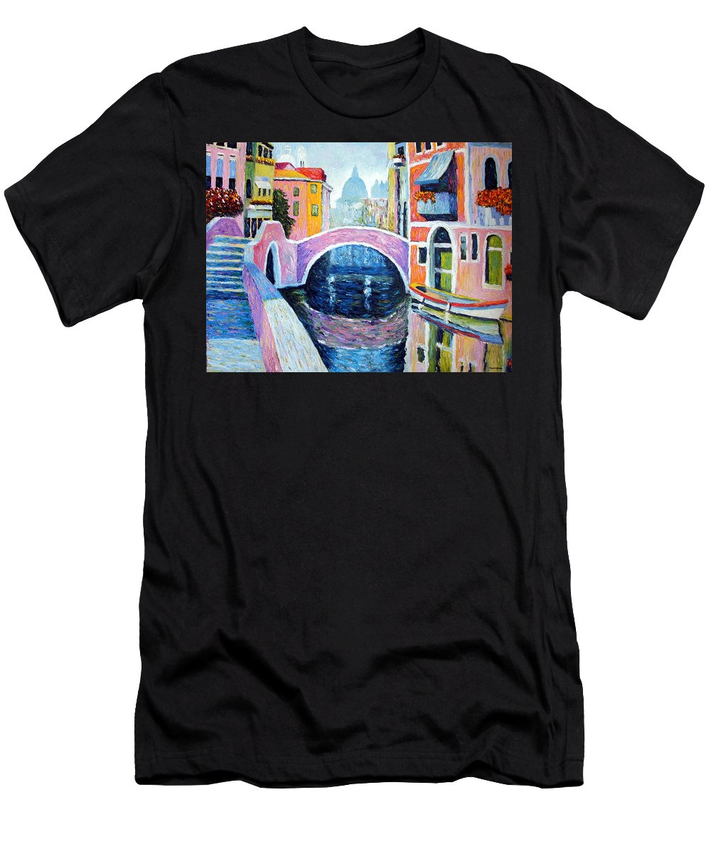 Pastel Men's T-Shirt (Athletic Fit) featuring the painting Venice Reflections by Michel Campeau