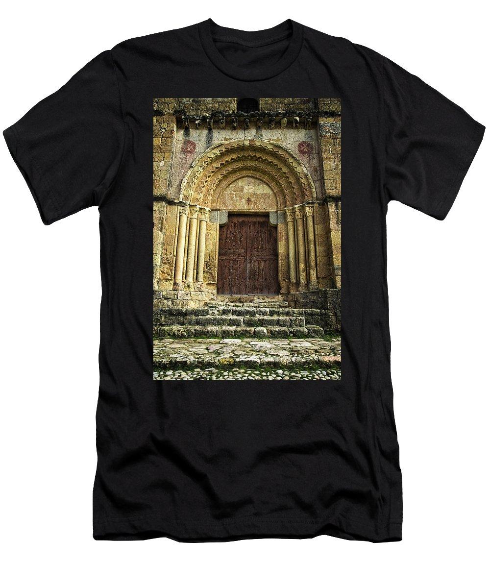 Door Men's T-Shirt (Athletic Fit) featuring the photograph Vera Cruz Door by Joan Carroll