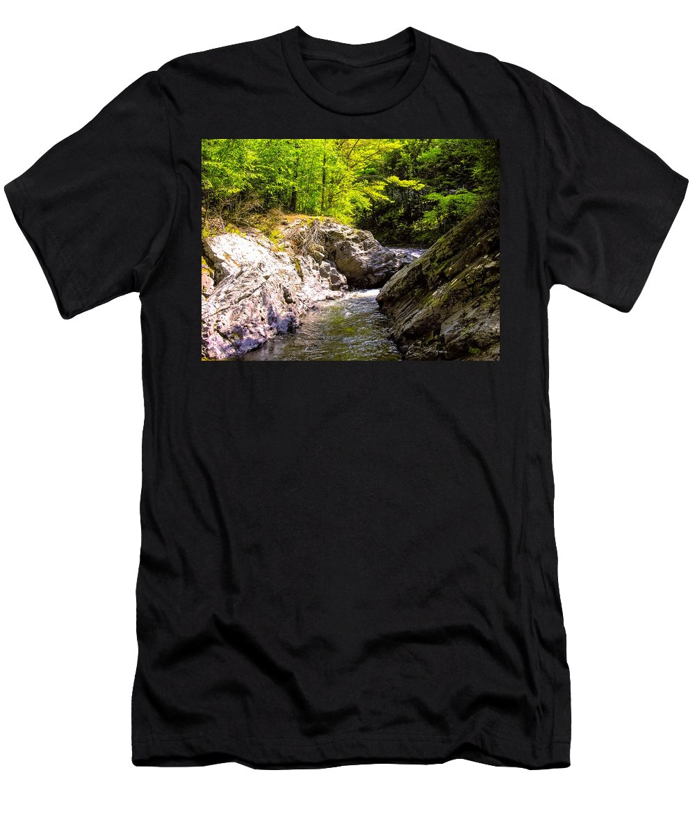 River Men's T-Shirt (Athletic Fit) featuring the photograph Vermont River by Sherman Perry