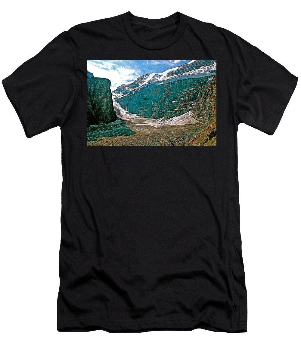 Victoria Glacier From Plain Of Six Glaciers In Banff National Park Men's T-Shirt (Athletic Fit) featuring the photograph Victoria Glacier From Plain Of Six Glaciers In Banff Np-alberta by Ruth Hager