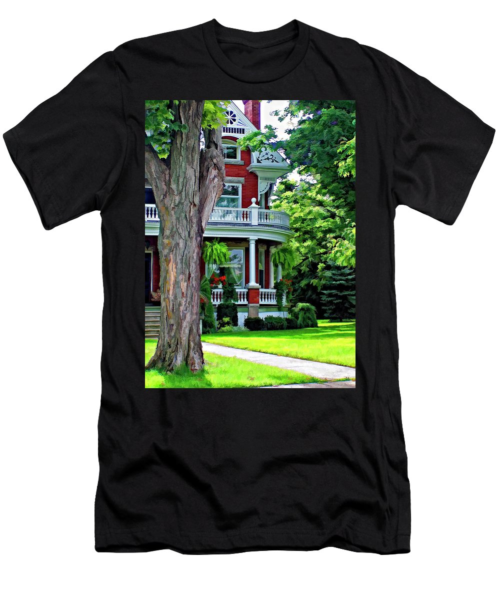 Southhampton Men's T-Shirt (Athletic Fit) featuring the photograph Victorian Home Painted Version by Steve Harrington