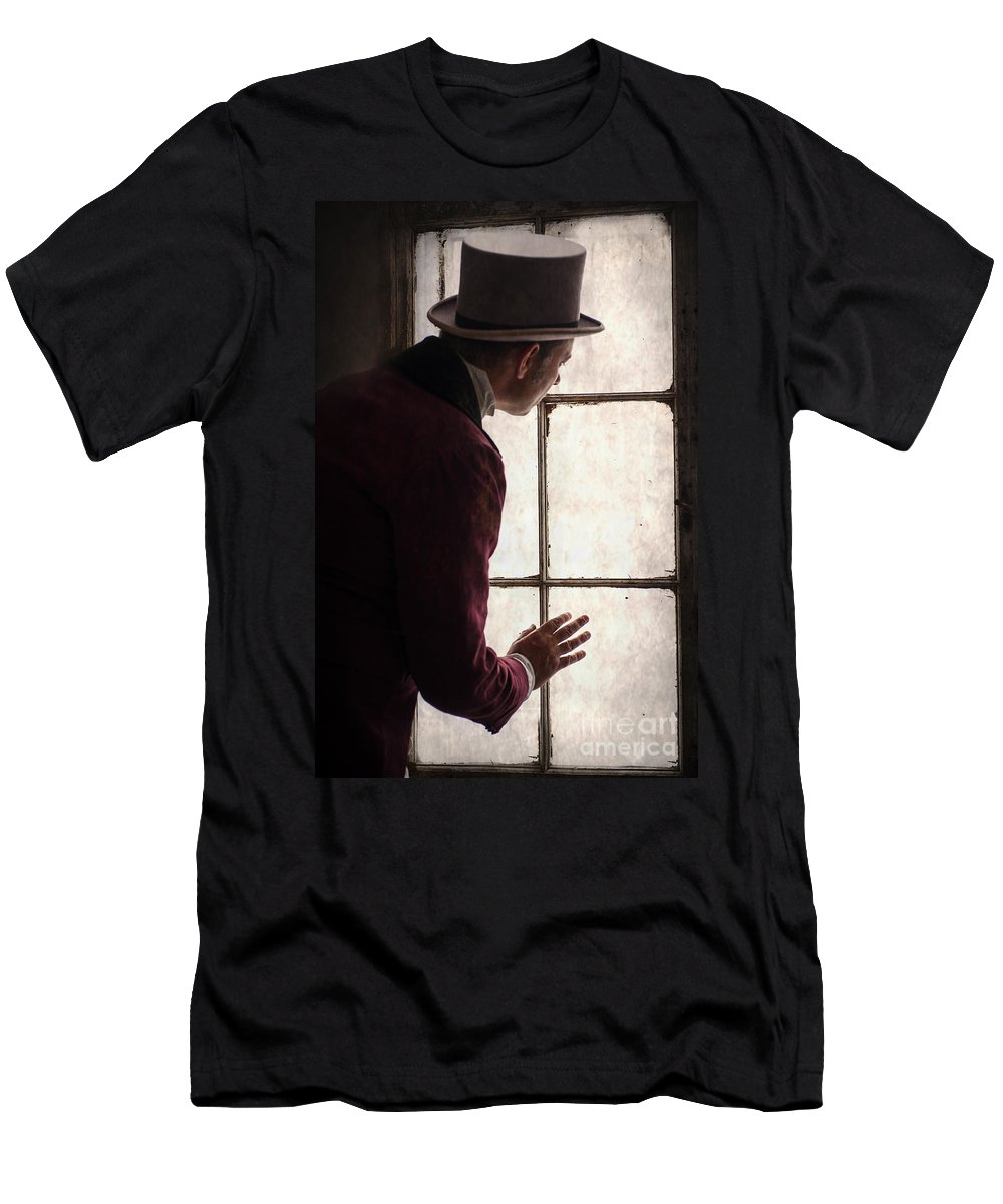 Gentleman Men's T-Shirt (Athletic Fit) featuring the photograph Victorian Man At A Window by Lee Avison
