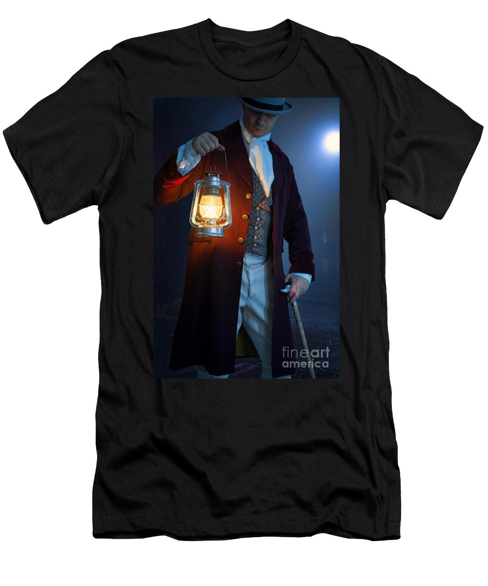 Victorian Men's T-Shirt (Athletic Fit) featuring the photograph Victorian Man With Lantern At Night by Lee Avison