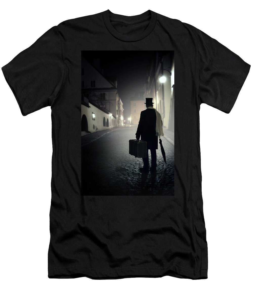 1800 S Men's T-Shirt (Athletic Fit) featuring the photograph Victorian Man With Top Hat Carrying A Suitcase Walking In The Old Town At Night by Jaroslaw Blaminsky
