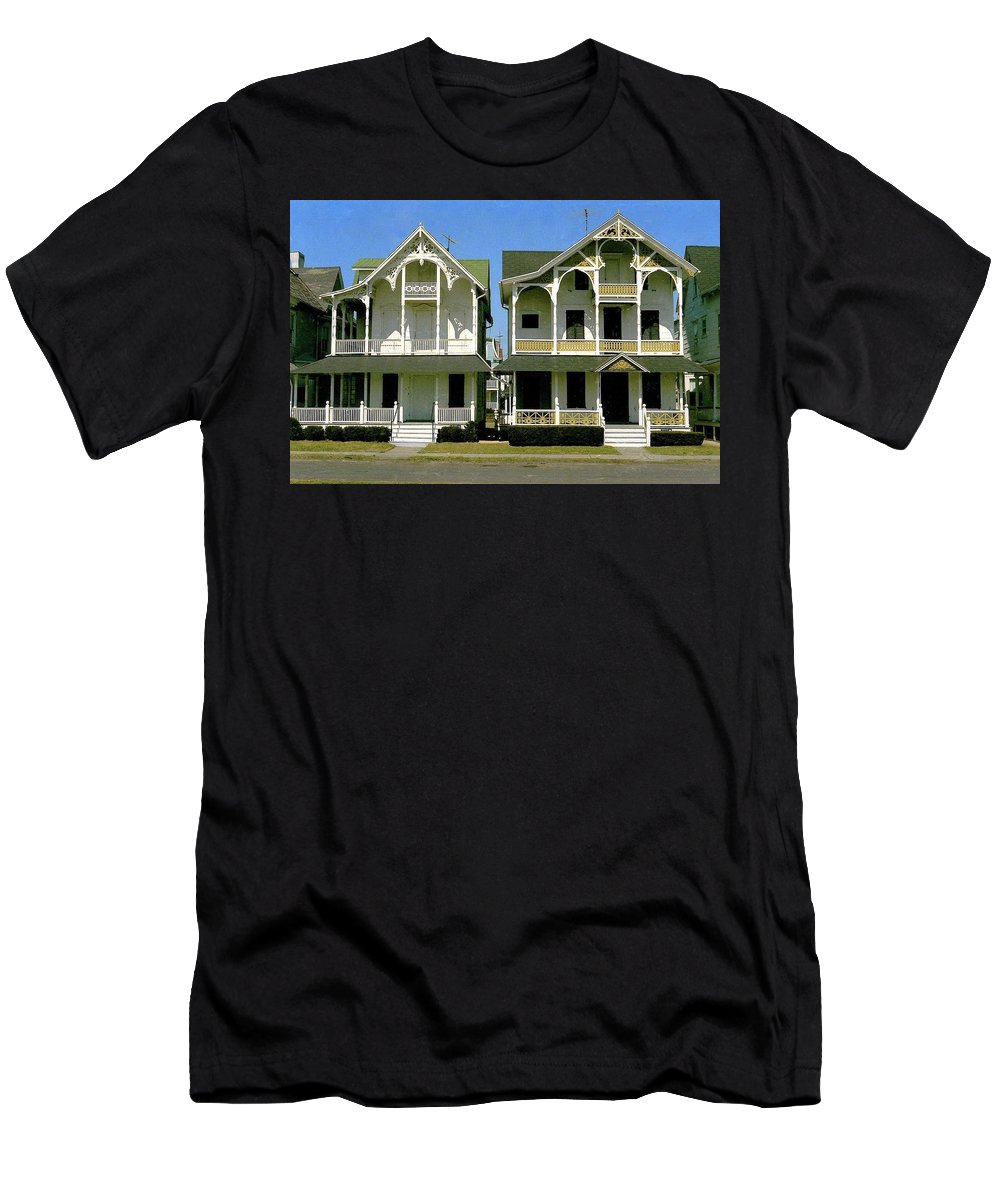 Victorian Homes Men's T-Shirt (Athletic Fit) featuring the photograph Victorians At Ocean Grove New Jersey by Ira Shander