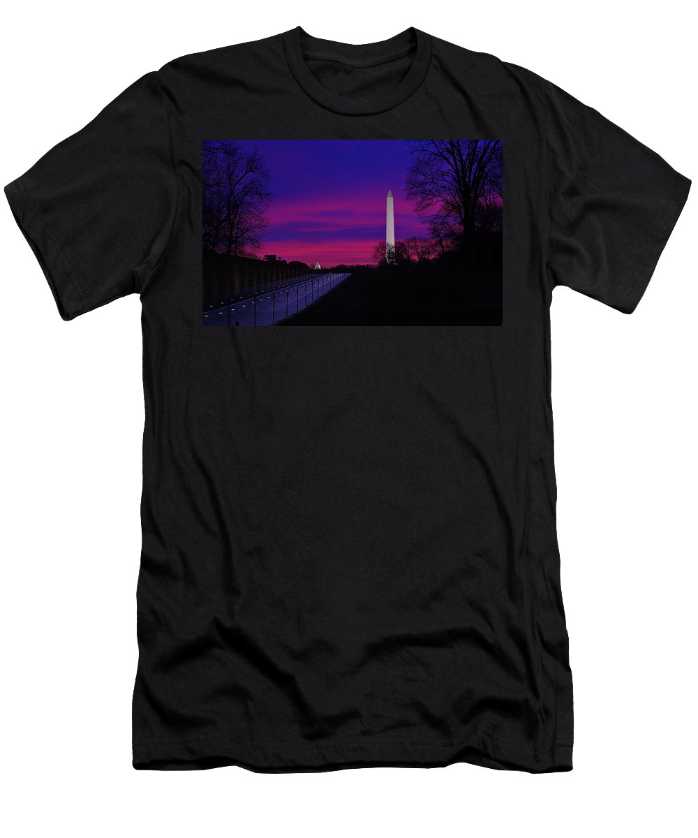 Metro Men's T-Shirt (Athletic Fit) featuring the photograph Vietnam Memorial Sunrise by Metro DC Photography