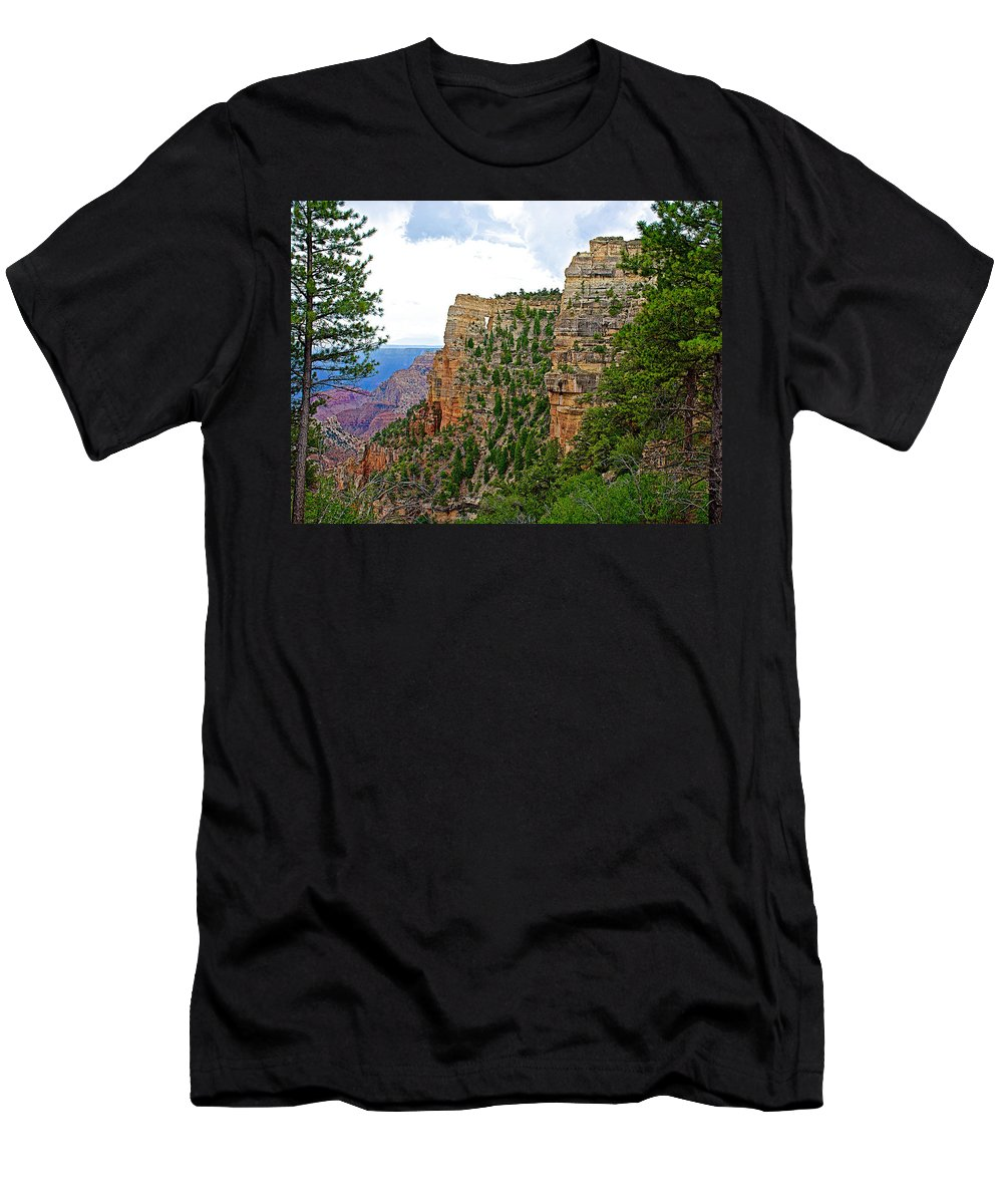 View Four From Walhalla Overlook On On North Rim/grand Canyon National Park Men's T-Shirt (Athletic Fit) featuring the photograph View Four From Walhalla Overlook On North Rim Of Grand Canyon-arizona by Ruth Hager