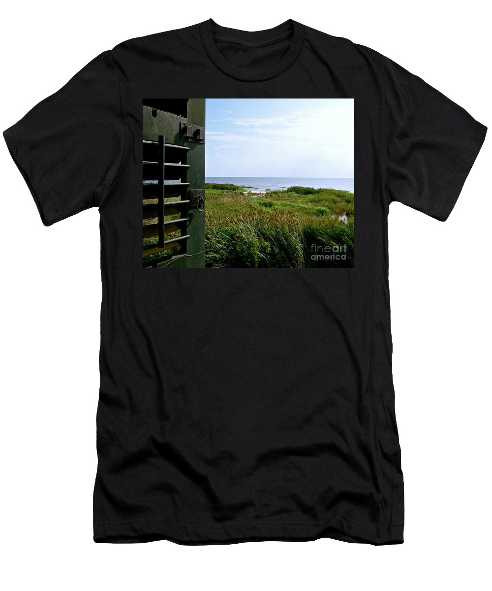 East Point Lighthouse Men's T-Shirt (Athletic Fit) featuring the photograph View From The Window At East Point Light by Nancy Patterson