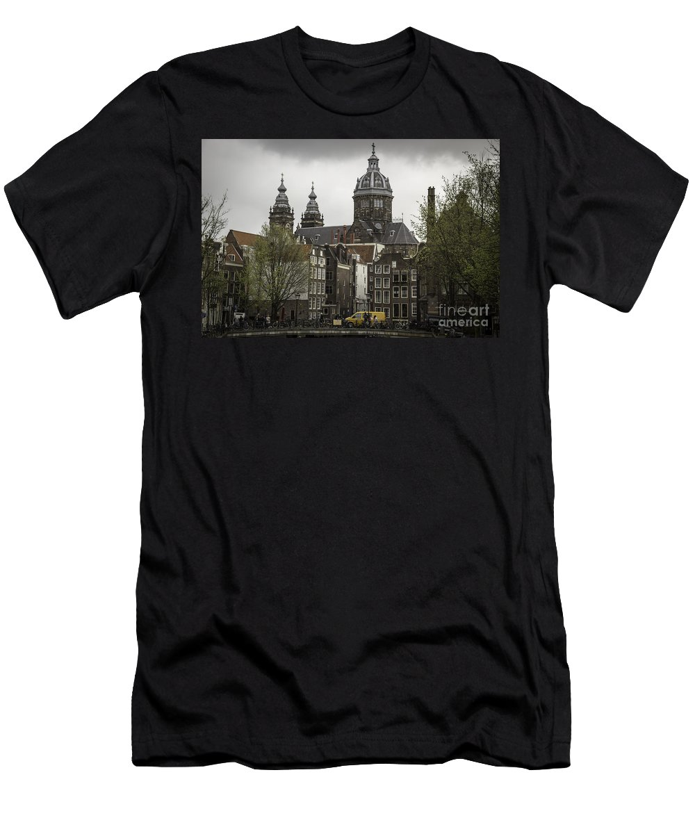 2014 Men's T-Shirt (Athletic Fit) featuring the photograph View Of Basilica Of St Nicholas Amsterdam by Teresa Mucha