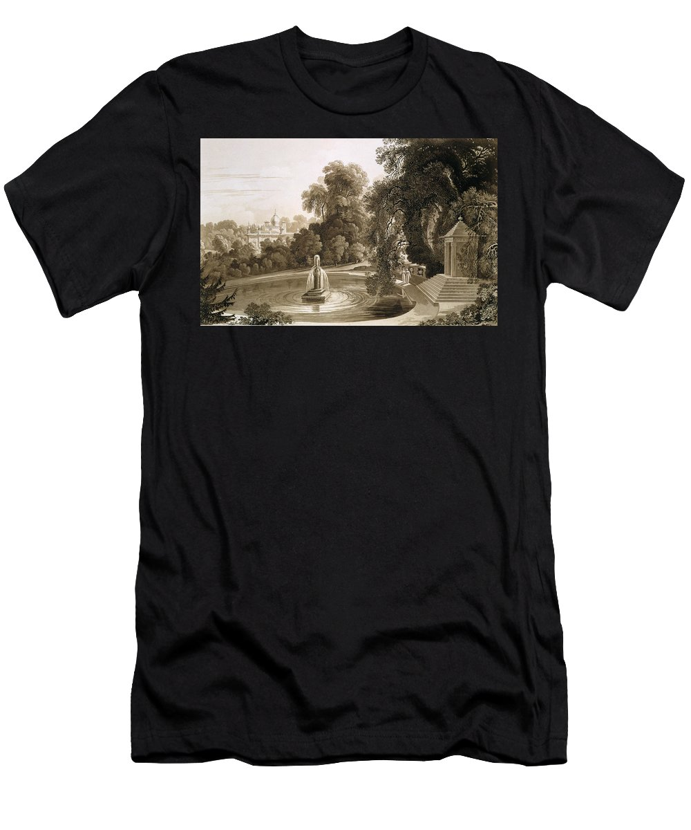 English Architecture Men's T-Shirt (Athletic Fit) featuring the drawing View Of The Temple Of Suryah by John Martin