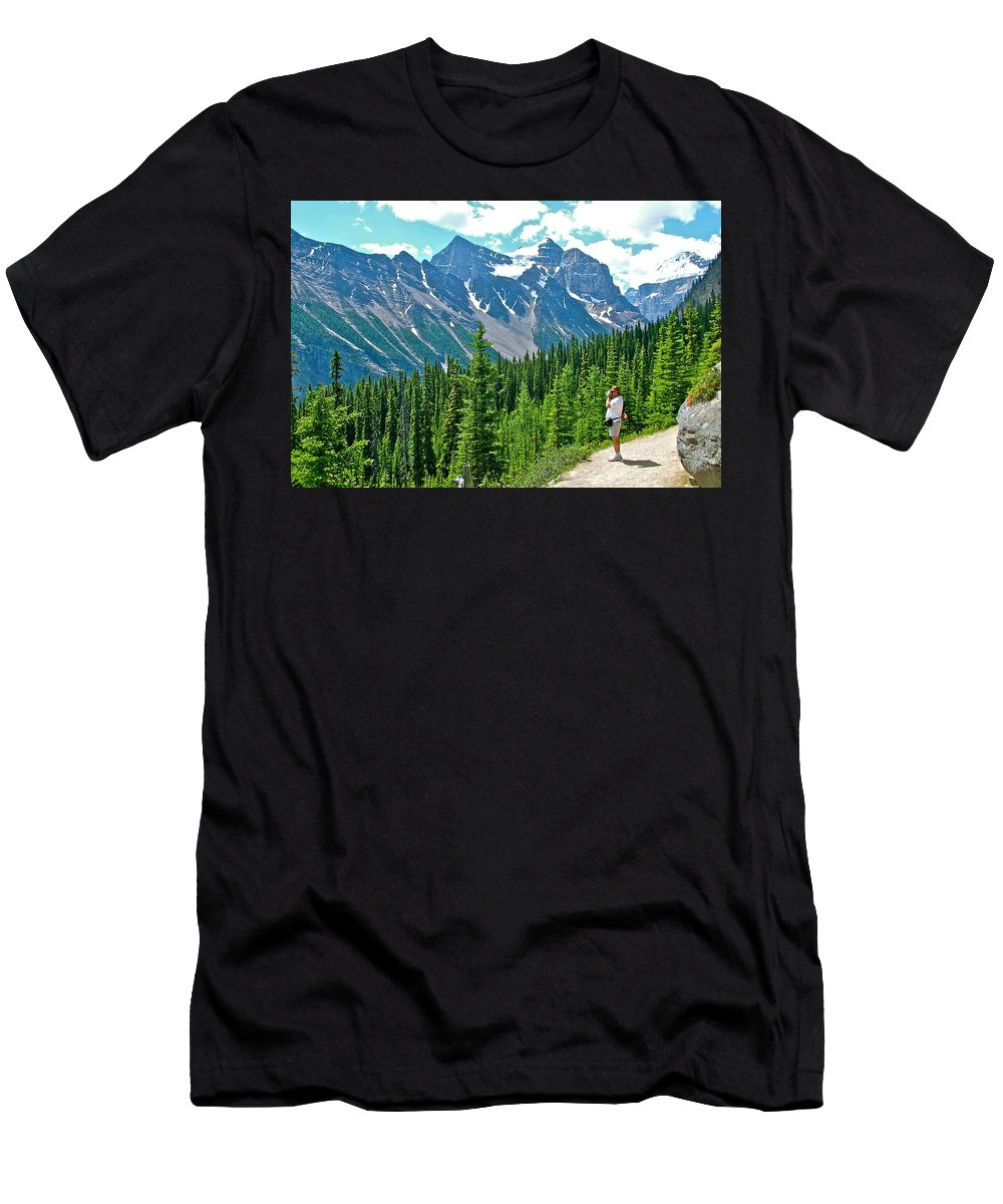 View On Trail To Lake Agnes In Banff National Park Men's T-Shirt (Athletic Fit) featuring the photograph View On Trail To Lake Agnes In Banff Np-alberta by Ruth Hager