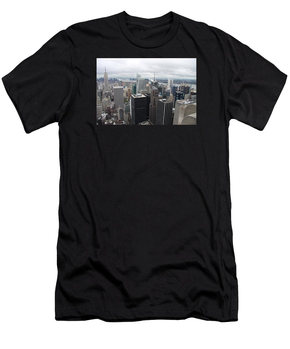 Skyline Men's T-Shirt (Athletic Fit) featuring the photograph View Over Manhattan by Christiane Schulze Art And Photography