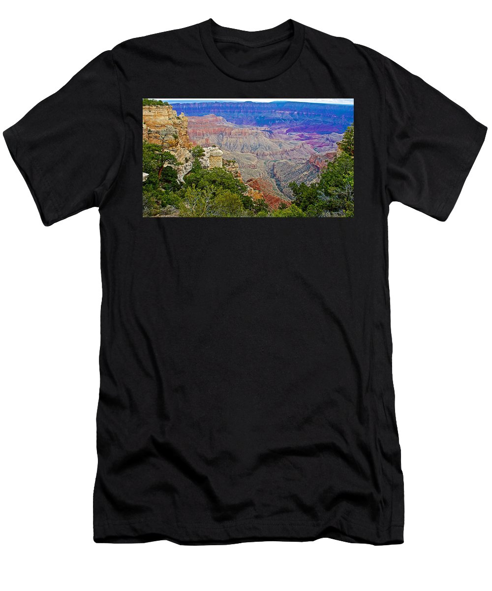 View Seven From Walhalla Overlook On On North Rim/grand Canyon National Park Men's T-Shirt (Athletic Fit) featuring the photograph View Seven From Walhalla Overlook On North Rim Of Grand Canyon-arizona by Ruth Hager