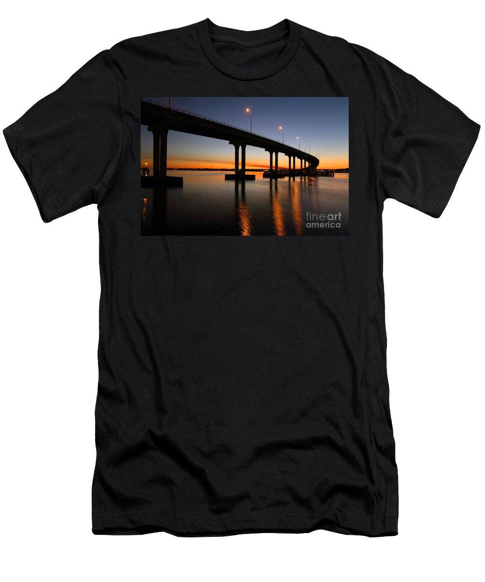 Florida Men's T-Shirt (Athletic Fit) featuring the photograph Vilano Bridge At Dusk St Augustine Florida by Bill Cobb