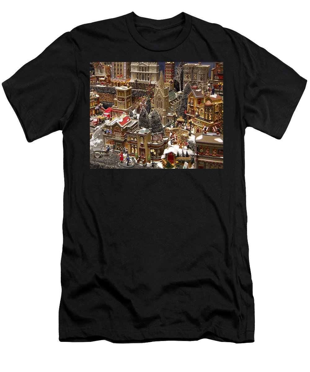 St Nick Men's T-Shirt (Athletic Fit) featuring the photograph Village Christmas Scene by Jon Berghoff