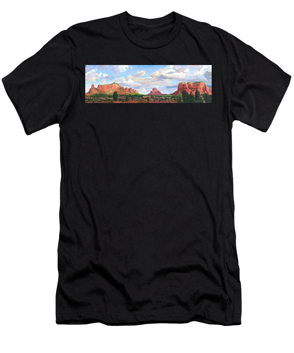 Skyline Men's T-Shirt (Athletic Fit) featuring the painting Village Of Oak Creek - Sedona by Steve Simon