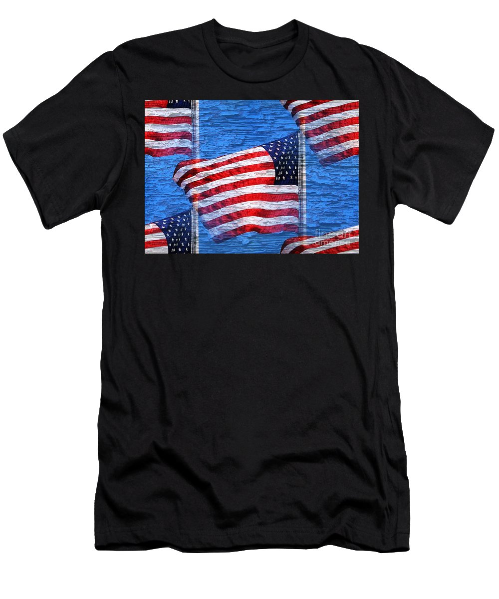 Flag Men's T-Shirt (Athletic Fit) featuring the photograph Vintage Amercian Flag Abstract by Judy Palkimas