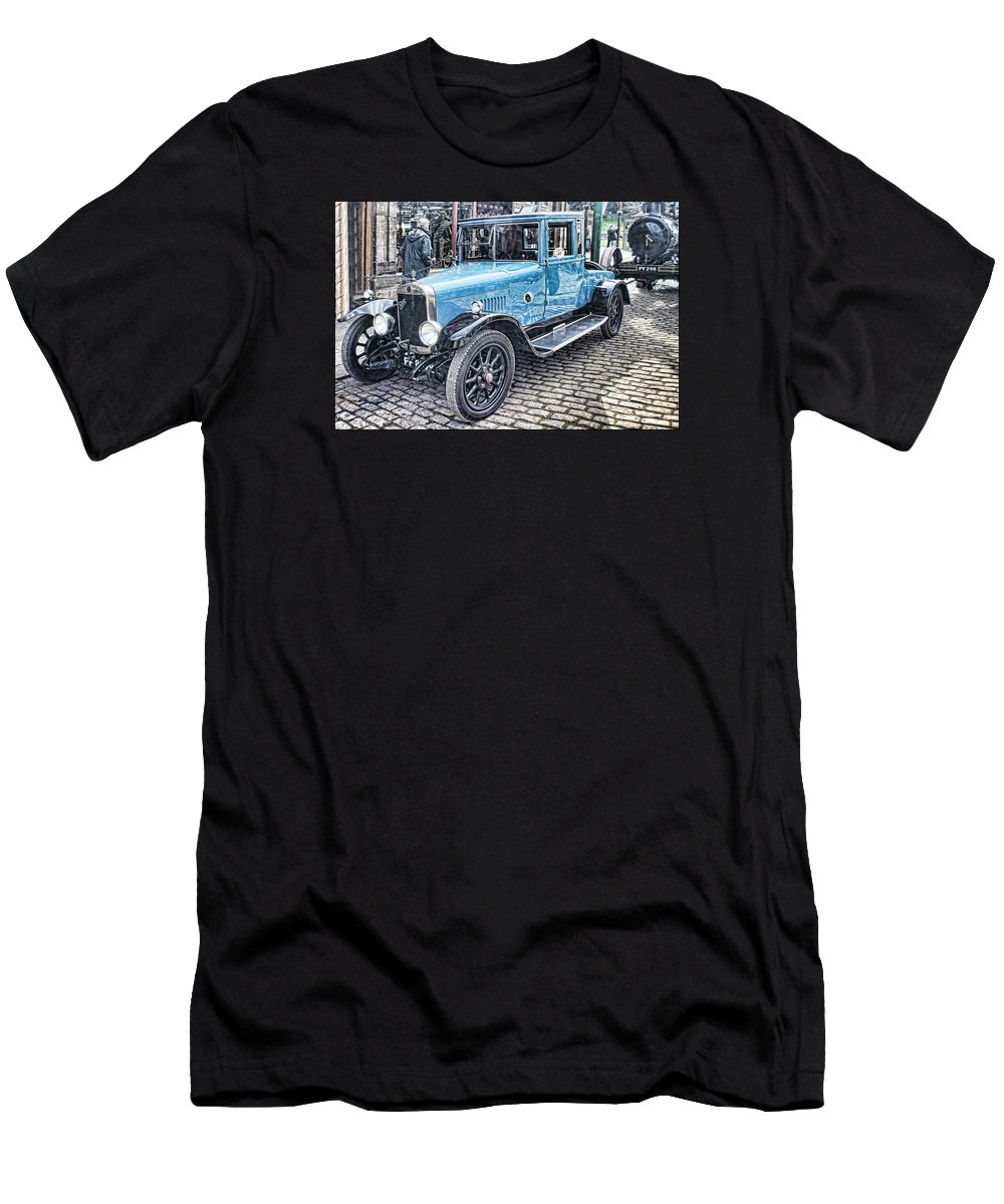 Beamish Men's T-Shirt (Athletic Fit) featuring the digital art Vintage Blue Car 2 by John Lynch