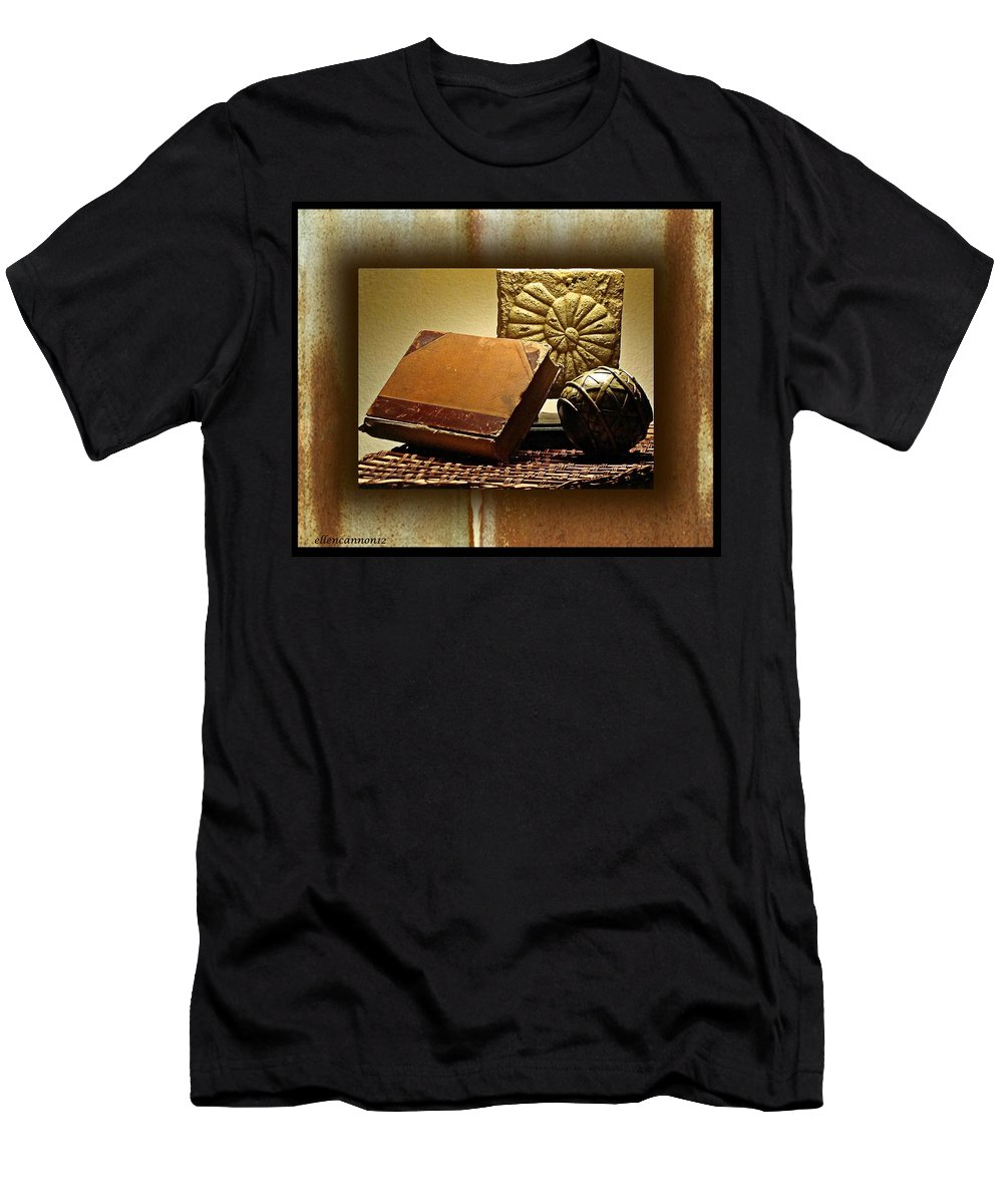 Still Life Men's T-Shirt (Athletic Fit) featuring the photograph Vintage Book Fossil And Carved Orb by Ellen Cannon