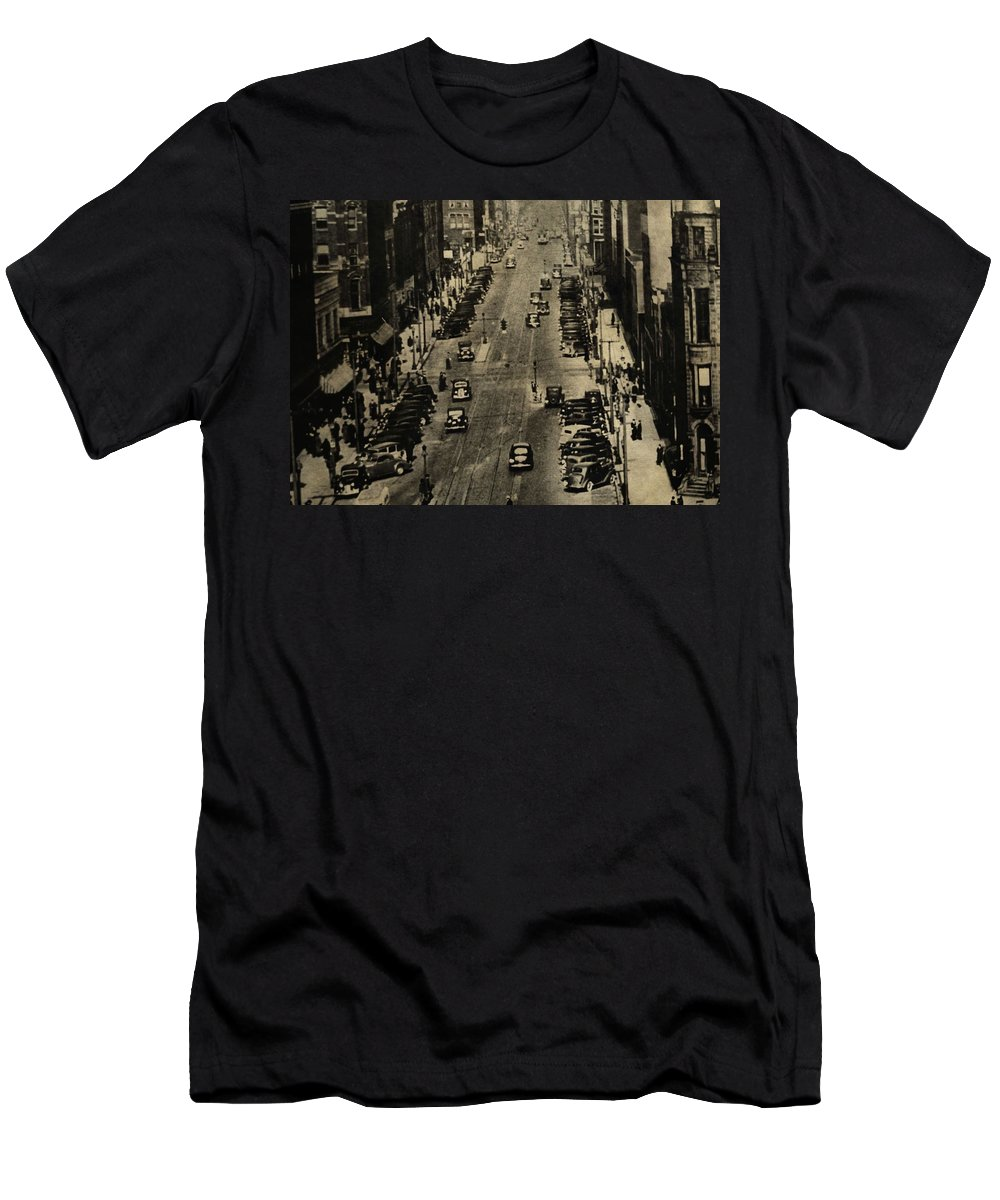 Vintage Downtown View Men's T-Shirt (Athletic Fit) featuring the photograph Vintage Downtown View by Dan Sproul