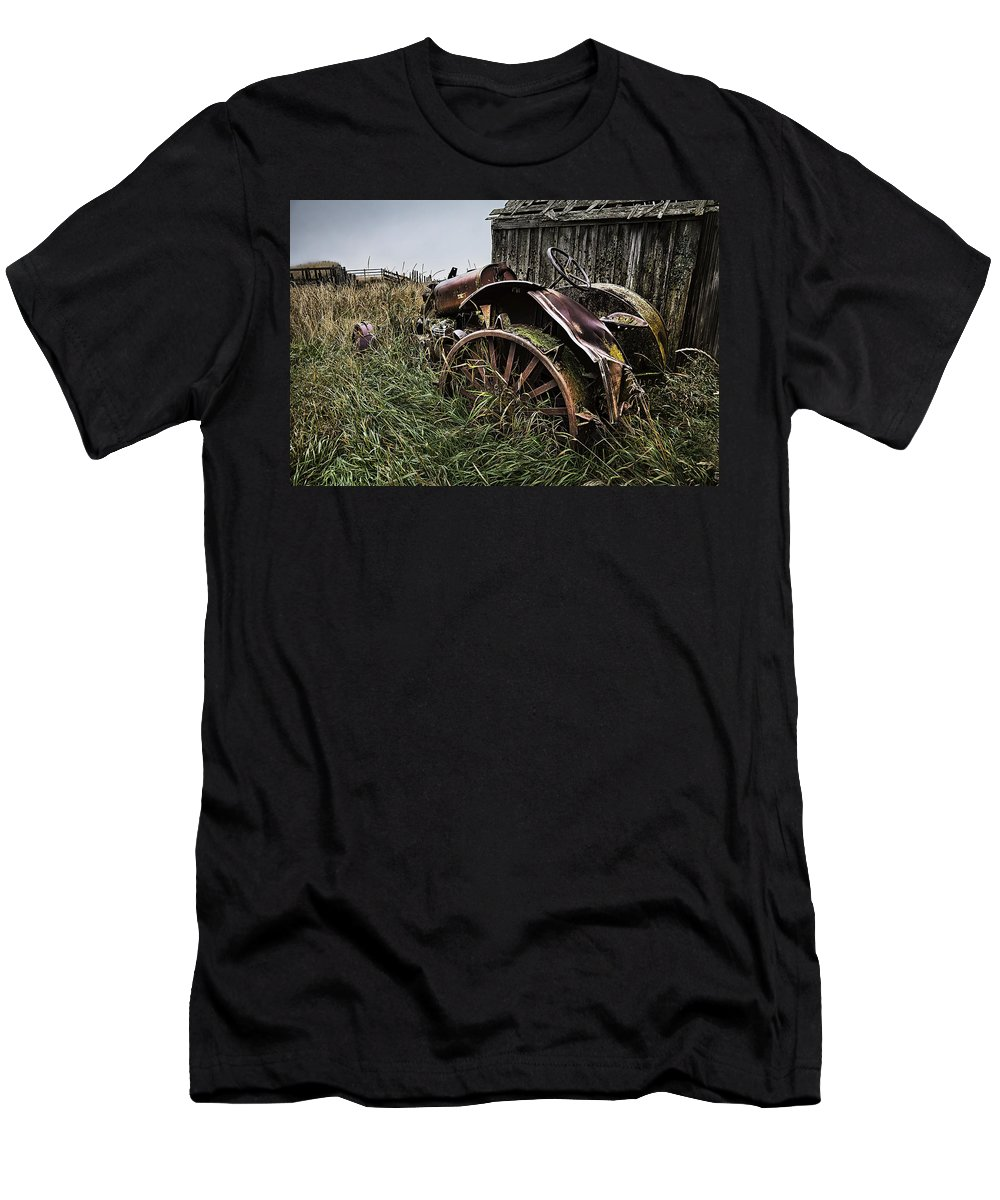 Massey Ferguson Men's T-Shirt (Athletic Fit) featuring the photograph Vintage Farm Tractor Color by Theresa Tahara