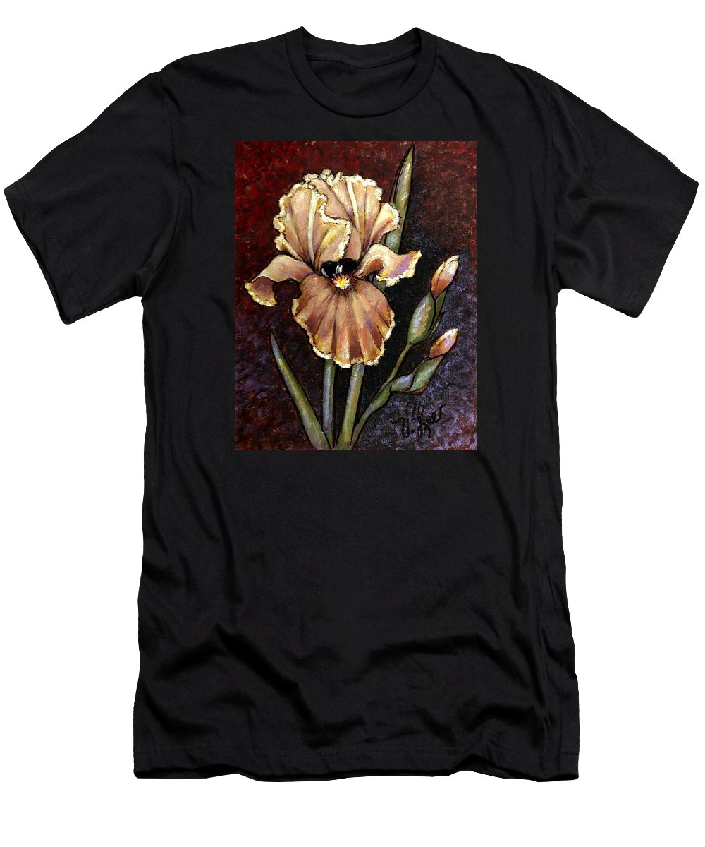 Iris Men's T-Shirt (Athletic Fit) featuring the painting Vintage Iris by VLee Watson