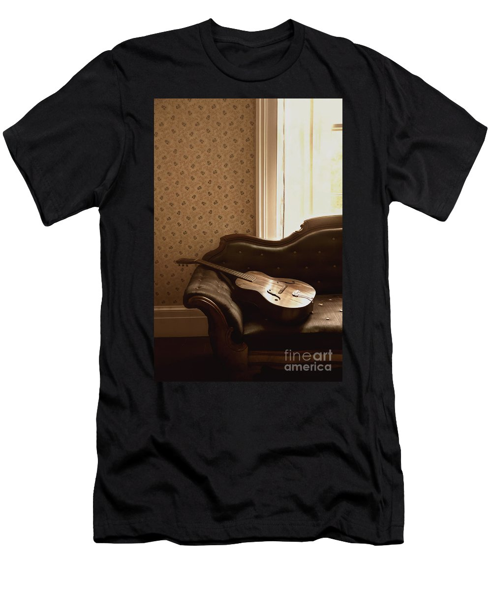 Guitar; Instrument; Still Life; Music; Laying; Couch; Sofa; Wall; Room; Window; Indoors; Inside; Vintage; Antique; Wallpaper; Waiting; Shadows; Strings; Quaint; Formal; Lay; Laying Men's T-Shirt (Athletic Fit) featuring the photograph Vintage Music by Margie Hurwich