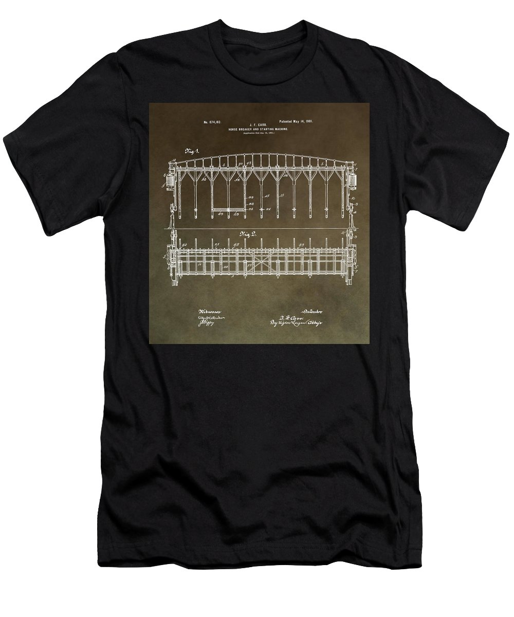 Horse Breaker Patent Men's T-Shirt (Athletic Fit) featuring the mixed media Vintage Starting Gate Patent by Dan Sproul