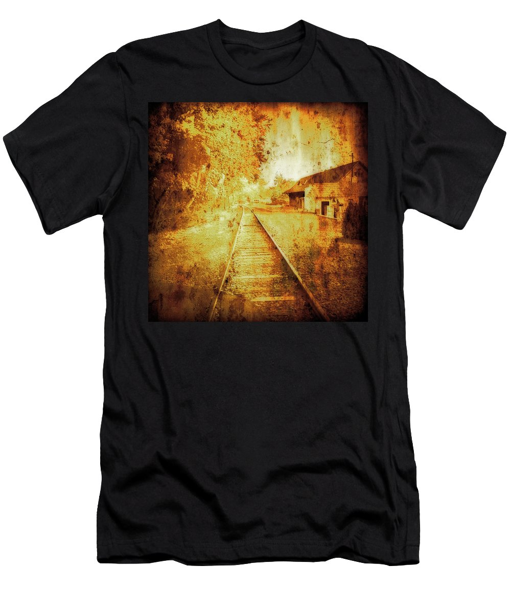 Vintage Railway Portland Men's T-Shirt (Athletic Fit) featuring the mixed media Vintage Railway Portland Pa Usa by Femina Photo Art By Maggie