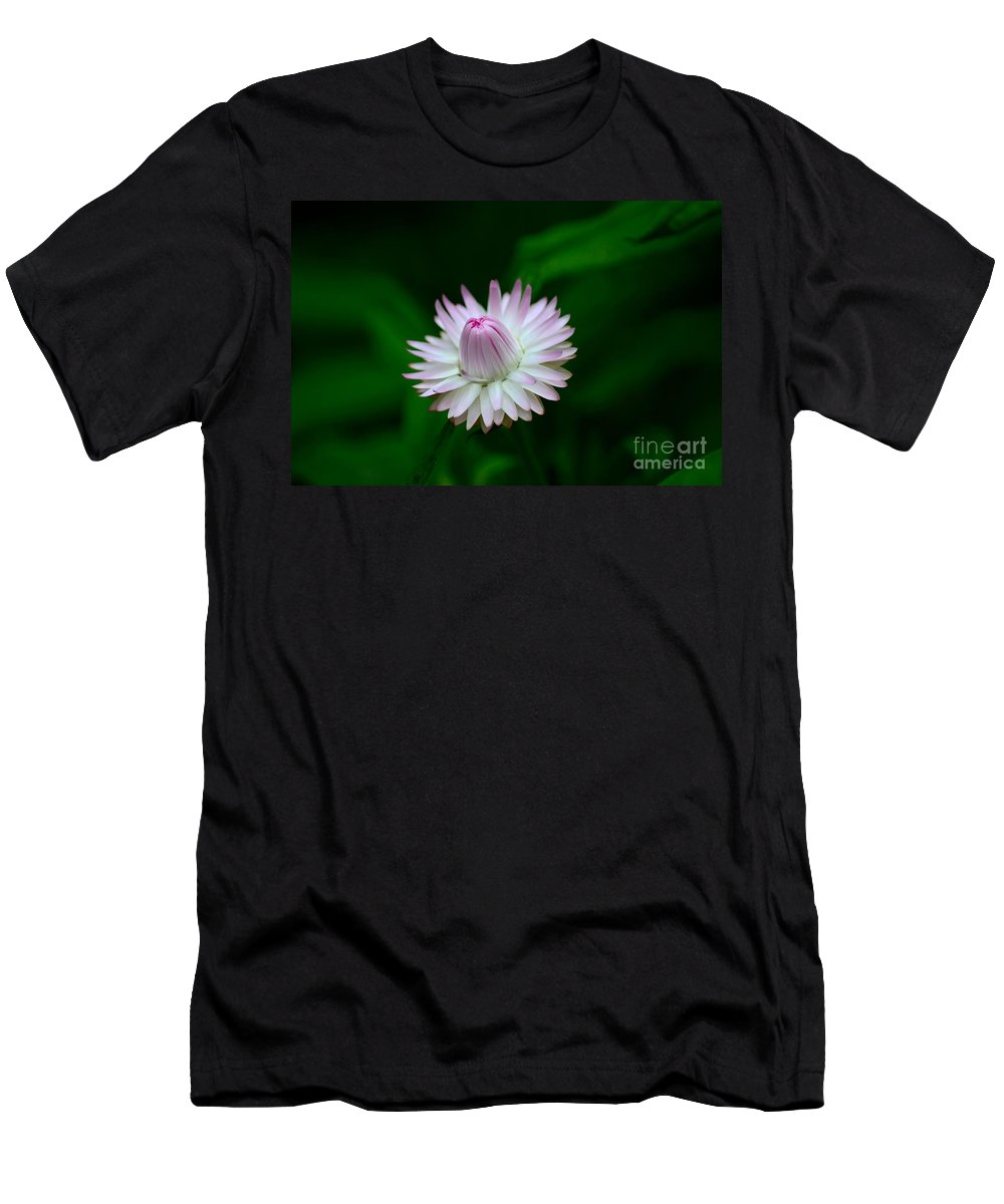Bloom Men's T-Shirt (Athletic Fit) featuring the photograph Violet And White Flower Sepals And Bud by Imran Ahmed
