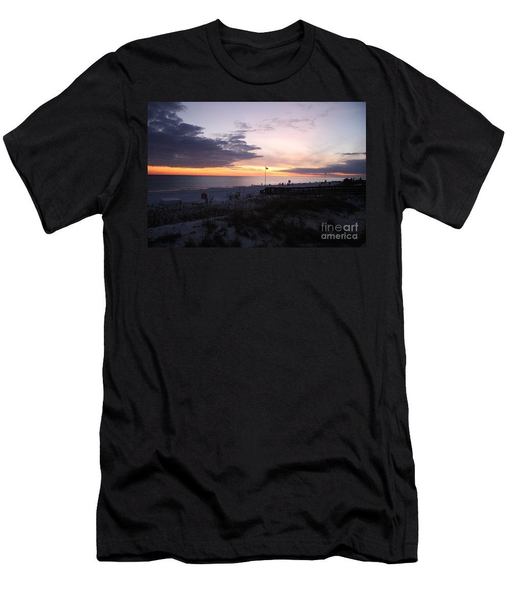 Beach Men's T-Shirt (Athletic Fit) featuring the photograph Violet Sunset Over The Sea by Christiane Schulze Art And Photography