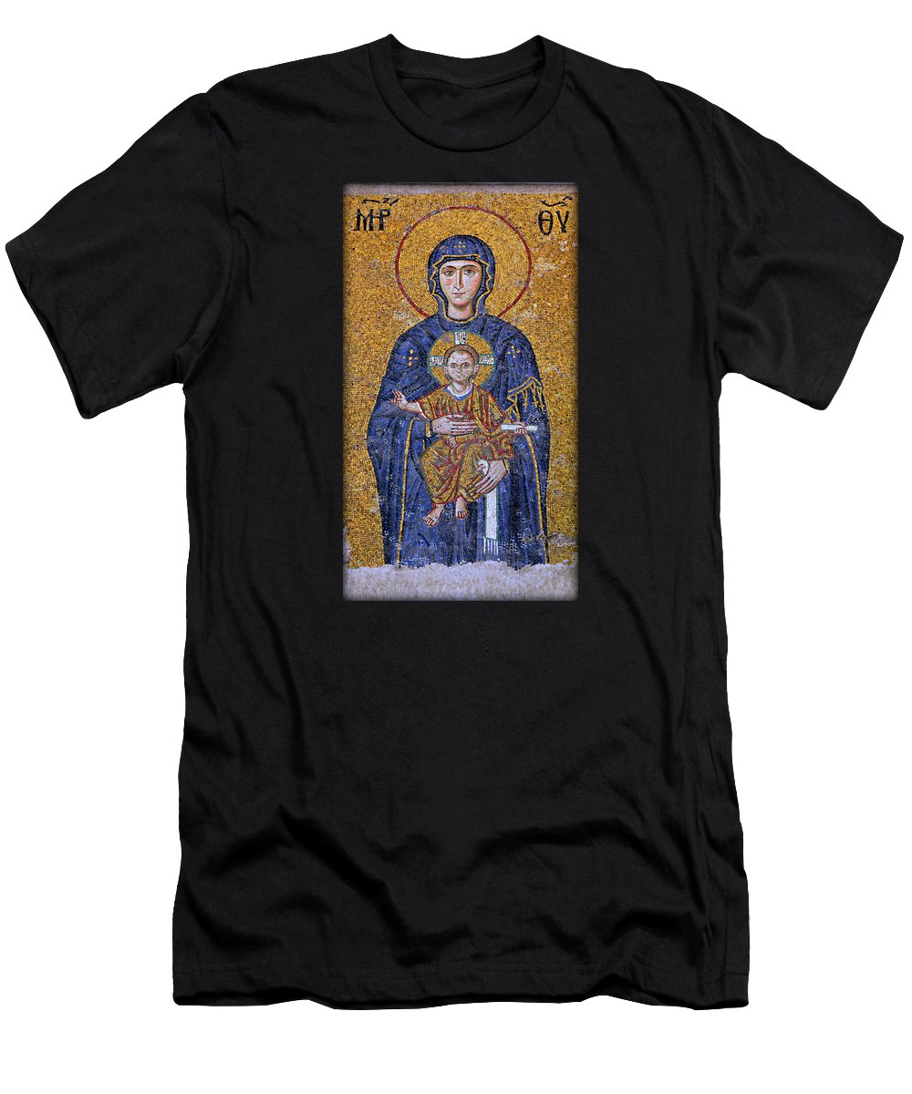 Ancient Men's T-Shirt (Athletic Fit) featuring the photograph Virgin Mary And Christ Child by Stephen Stookey