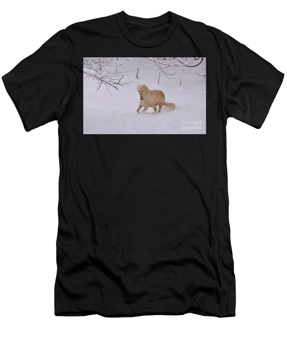 Horse Men's T-Shirt (Athletic Fit) featuring the photograph Viva Zapata Contratercero Dances In The Snow by Patricia Keller